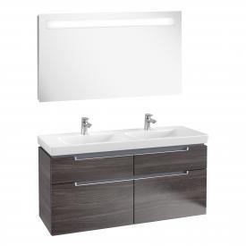 Villeroy & Boch Subway 2.0 Waschtisch mit Waschtischunterschrank und More to See 14 Spiegel Front eiche graphit/verspiegelt / Korpus eiche graphit/aluminium matt, Griff silber matt