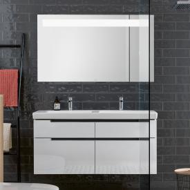 Villeroy & Boch Subway 2.0 Waschtisch mit Waschtischunterschrank und More to See 14 Spiegel Front glossy white/verspiegelt / Korpus glossy white/aluminium matt, Griff chrom