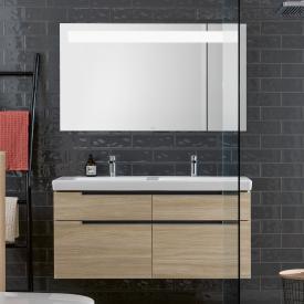 Villeroy & Boch Subway 2.0 Waschtisch mit Waschtischunterschrank und More to See 14 Spiegel Front ulme impresso/verspiegelt / Korpus ulme impresso/aluminium matt, Griff silber matt