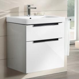Villeroy & Boch Subway 2.0 Waschtisch mit Waschtischunterschrank mit 2 Auszügen weiß, mit CeramicPlus, mit 1 Hahnloch, mit Überlauf