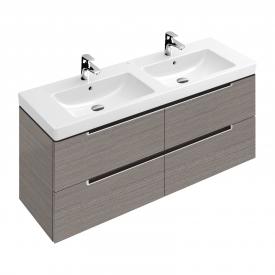 Villeroy & Boch Subway 2.0 Waschtischunterschrank für Doppelwaschtisch mit 4 Auszüge Front eiche gaphit / Korpus eiche graphit, Griff silber matt