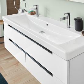 Villeroy & Boch Subway 2.0 Waschtischunterschrank mit 4 Auszügen Front glossy white / Korpus glossy white, Griff chrom
