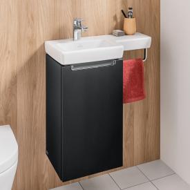 Villeroy & Boch Subway 2.0 Waschtischunterschrank mit 1 Tür Front black matt / Korpus black matt, Griff chrom
