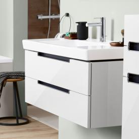 Villeroy & Boch Subway 2.0 Waschtischunterschrank mit 2 Auszügen Front glossy white / Korpus glossy white, Griff silber matt