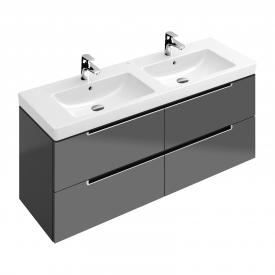 Villeroy & Boch Subway 2.0 Waschtischunterschrank XL für Doppelwaschtisch mit 4 Auszügen Front glossy grey / Korpus glossy grey, Griff silber matt