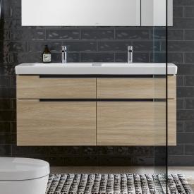 Villeroy & Boch Subway 2.0 Waschtischunterschrank XXL für Doppelwaschtisch mit 4 Auszügen Front ulme impresso / Korpus ulme impresso, Griff silber matt