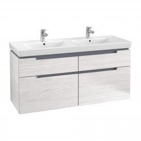 Villeroy & Boch Subway 2.0 Waschtischunterschrank XXL für Doppelwaschtisch mit 4 Auszügen Front white wood / Korpus white wood, Griff chrom