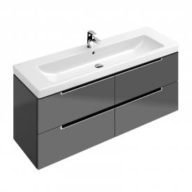 Villeroy & Boch Subway 2.0 Waschtischunterschrank XL mit 4 Auszügen Front glossy grey / Korpus glossy grey, Griff silber matt