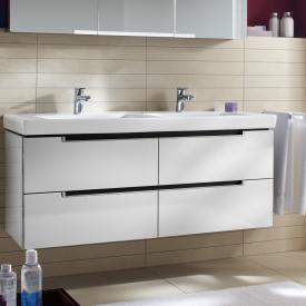 Villeroy & Boch Subway 2.0 Waschtischunterschrank XL für Doppelwaschtisch mit 4 Auszügen Front glossy white / Korpus glossy white, Griff silber matt