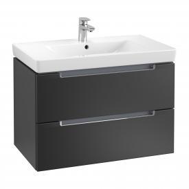 Villeroy & Boch Subway 2.0 Waschtischunterschrank XL mit 2 Auszügen Front black matt / Korpus black matt, Griff chrom