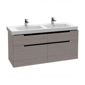 Villeroy & Boch Subway 2.0 Waschtischunterschrank XXL für Doppelwaschtisch mit 4 Auszügen Front eiche gaphit / Korpus eiche graphit, Griff silber matt