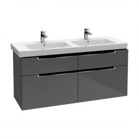 Villeroy & Boch Subway 2.0 Waschtischunterschrank XXL für Doppelwaschtisch mit 4 Auszügen Front glossy grey / Korpus glossy grey, Griff chrom