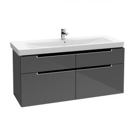Villeroy & Boch Subway 2.0 Waschtischunterschrank XXL mit 4 Auszügen Front glossy grey / Korpus glossy grey, Griff silber matt