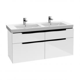 Villeroy & Boch Subway 2.0 Waschtischunterschrank XXL für Doppelwaschtisch mit 4 Auszügen Front glossy white / Korpus glossy white, Griff chrom