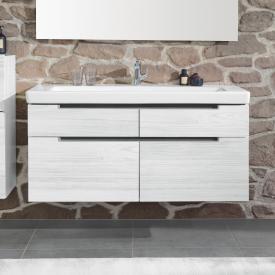 Villeroy & Boch Subway 2.0 Waschtischunterschrank XXL mit 4 Auszügen Front white wood / Korpus white wood, Griff silber matt