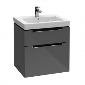 Villeroy & Boch Subway 2.0 Waschtischunterschrank XXL mit 2 Auszügen Front glossy grey / Korpus glossy grey, Griff chrom