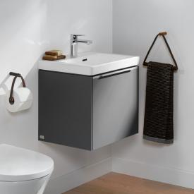 Villeroy & Boch Subway 3.0 Handwaschbecken mit Waschtischunterschrank mit 1 Auszug Front graphite / Korpus graphite, Griffleiste aluminium glanz, WT weiß, mit Überlauf