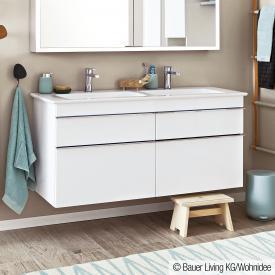Villeroy & Boch Venticello Doppelwaschtisch mit Waschtischunterschrank mit 4 Auszügen weiß, mit CeramicPlus, mit 2 Hahnlöchern, mit Überlauf