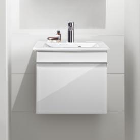 Villeroy & Boch Venticello Handwaschbecken mit Waschtischunterschrank mit 1 Auszug Front glossy white / Korpus glossy white, Griff chrom, WT weiß mit CeramicPlus