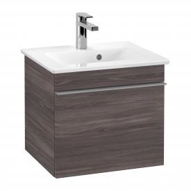 Villeroy & Boch Venticello Handwaschbeckenunterschrank mit 1 Auszug Front eiche graphit / Korpus eiche graphit, Griff grau