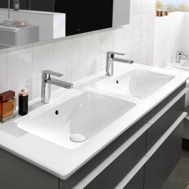 Villeroy & Boch Venticello Schrank-Doppelwaschtisch weiß, mit CeramicPlus, mit 2 Hahnlöchern, mit Überlauf