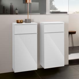 Villeroy & Boch Venticello Seitenschrank mit 1 Schublade und 1 Tür Front glossy white / Korpus glossy white, Griff weiß