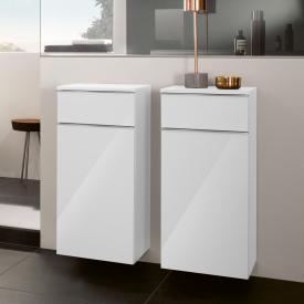 Villeroy & Boch Venticello Seitenschrank mit 1 Schublade und 1 Tür Front glossy white / Korpus glossy white, Griff chrom