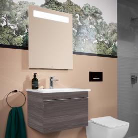 Villeroy & Boch Venticello Waschtisch mit Waschtischunterschrank und More to See 14 Spiegel Front eiche graphit/verspiegelt / Korpus eiche graphit/aluminium matt, Griff chrom