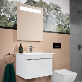 Villeroy & Boch Venticello Waschtisch mit Waschtischunterschrank und More to See 14 Spiegel Front glossy white/verspiegelt / Korpus glossy white/aluminium matt, Griff chrom