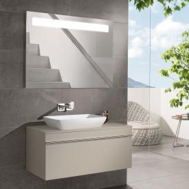 Villeroy & Boch Venticello Waschtisch mit Waschtischunterschrank und More to See 14 Spiegel Front soft grey/verspiegelt / Korpus soft grey/aluminium matt, Griff chrom