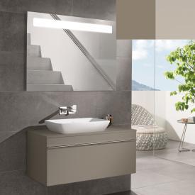 Villeroy & Boch Venticello Waschtisch mit Waschtischunterschrank und More to See 14 Spiegel Front truffle grey/verspiegelt / Korpus truffle grey/aluminium matt, Griff chrom