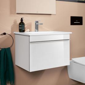 Villeroy & Boch Venticello Waschtisch mit Waschtischunterschrank mit 1 Auszug Front glossy white / Korpus glossy white, Griff chrom, WT weiß mit CeramicPlus, mit 1 Hahnloch