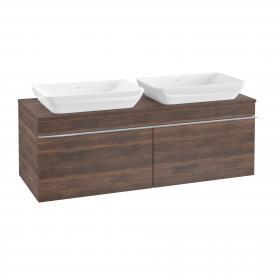 Villeroy & Boch Venticello Waschtischunterschrank für 2 Aufsatzwaschtische mit 2 Auszügen Front arizona oak / Korpus arizona oak, Griff chrom