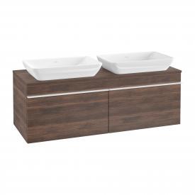 Villeroy & Boch Venticello Waschtischunterschrank für 2 Aufsatzwaschtische mit 2 Auszügen Front arizona oak / Korpus arizona oak, Griff weiß