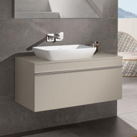 Villeroy & Boch Venticello Waschtischunterschrank für Aufsatzwaschtisch mit 1 Auszug Front soft grey / Korpus soft grey, Griff chrom