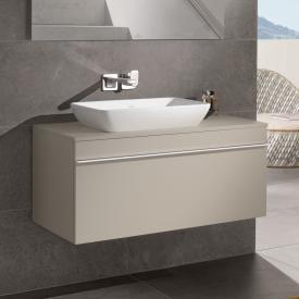 Villeroy & Boch Venticello Waschtischunterschrank für Aufsatzwaschtisch mit 1 Auszug Front soft grey / Korpus soft grey, Griff weiß