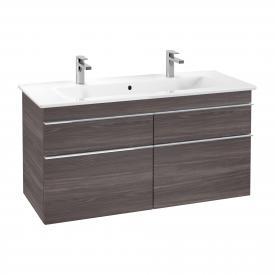 Villeroy & Boch Venticello Waschtischunterschrank XXL für Doppelwaschtisch mit 4 Auszügen Front eiche graphit / Korpus eiche graphit, Griff chrom