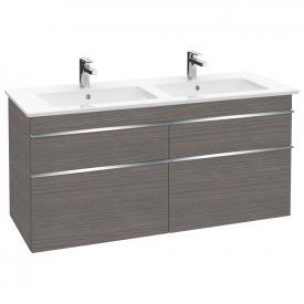 Villeroy & Boch Venticello Doppel-Waschtischunterschrank XXL mit 4 Auszügen Front eiche graphit / Korpus eiche graphit, Griff chrom