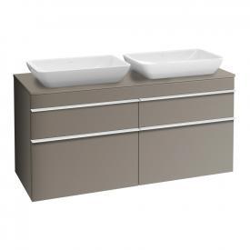 Villeroy & Boch Venticello Waschtischunterschrank XXL für 2 Aufsatzwaschtische mit 4 Auszügen Front terra matt / Korpus terra matt, Griff weiß