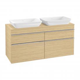 Villeroy & Boch Venticello Waschtischunterschrank XXL für 2 Aufsatzwaschtische mit 4 Auszügen Front nordic oak / Korpus nordic oak, Griff chrom