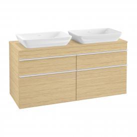 Villeroy & Boch Venticello Waschtischunterschrank XXL für 2 Aufsatzwaschtische mit 4 Auszügen Front nordic oak / Korpus nordic oak, Griff weiß