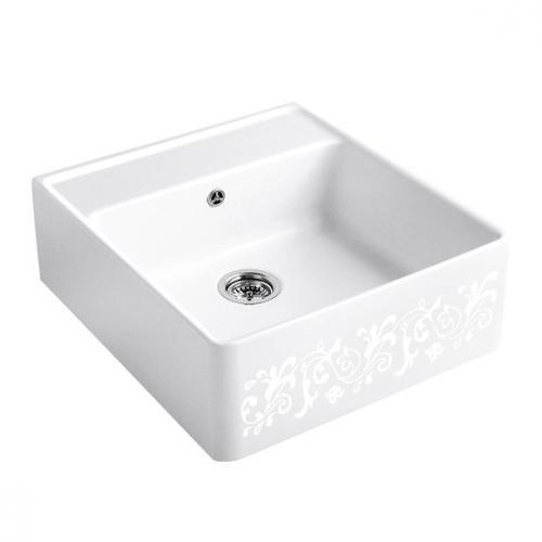 villeroy boch sp lstein einzelbecken mit handbet tigung white pearl dekor position lochbohrung. Black Bedroom Furniture Sets. Home Design Ideas