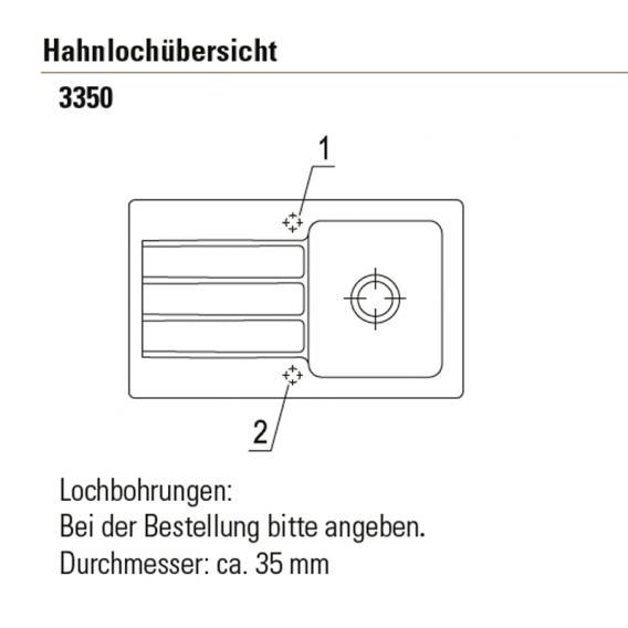 Villeroy & Boch Architectura 50 Einbauspüle mit Abtropffläche und Excenterbetätigung ebony/Position Lochbohrung 1 und 2