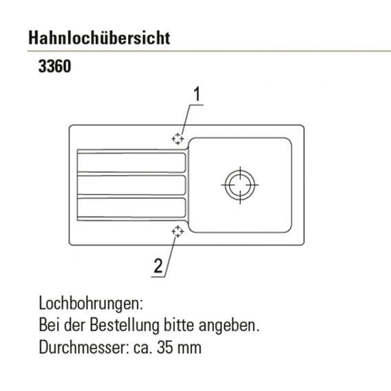 Villeroy & Boch Architectura 60 Einbauspüle mit Abtropffläche und Excenterbetätigung schneeweiß/Position Lochbohrung 1 und 2