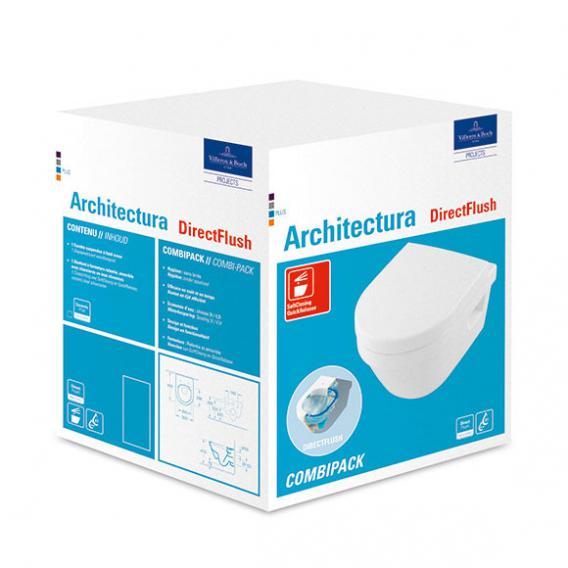 Villeroy & Boch Architectura Compact Combi-Pack Wand-Tiefspül-WC, offener Spülrand, mit WC-Sitz weiß, mit CeramicPlus