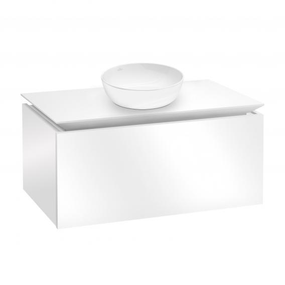 Villeroy & Boch Artis Aufsatzwaschtisch mit Legato Waschtischunterschrank mit 1 Auszug Front glossy white / Korpus glossy white, WT weiß mit CeramicPlus