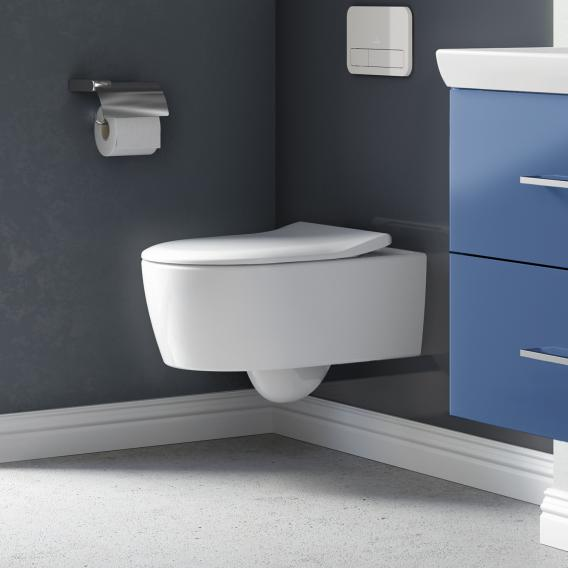Villeroy & Boch Avento Wand-Tiefspül-WC, DirectFlush, mit WC-Sitz, Combi-Pack weiß, mit CeramicPlus