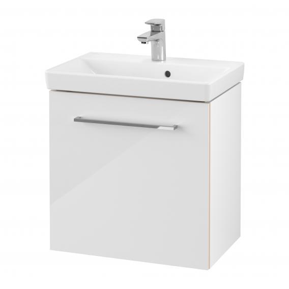 Villeroy & Boch Avento Waschtisch Compact mit Waschtischunterschrank mit 1 Tür Front crystal white / Korpus crystal white, WT weiß mit Ceramicplus