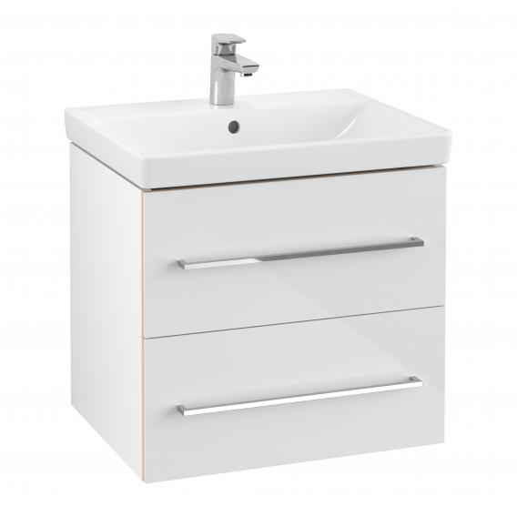 Villeroy & Boch Avento Waschtisch mit Waschtischunterschrank mit 2 Auszügen weiß, mit CeramicPlus, mit 1 Hahnloch, mit Überlauf