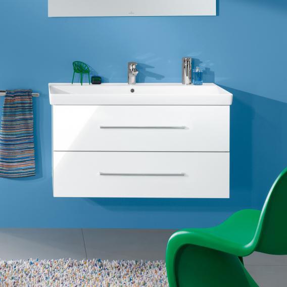 Villeroy & Boch Avento Waschtischunterschrank mit 2 Auszügen Front crystal white / Korpus crystal white